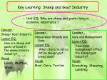 key learning sheep and goat industry