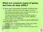 what are common types of goats and how do they differ1