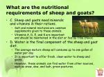 what are the nutritional requirements of sheep and goats3