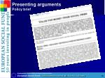 presenting arguments policy brief