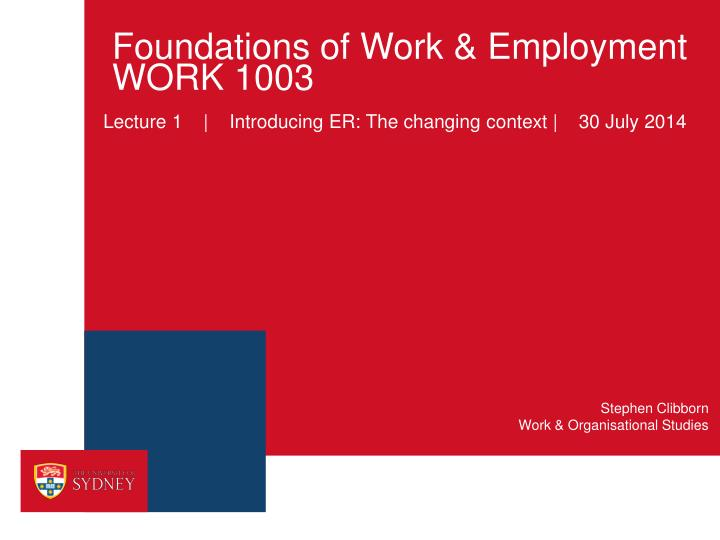 Foundations of work employment work 1003