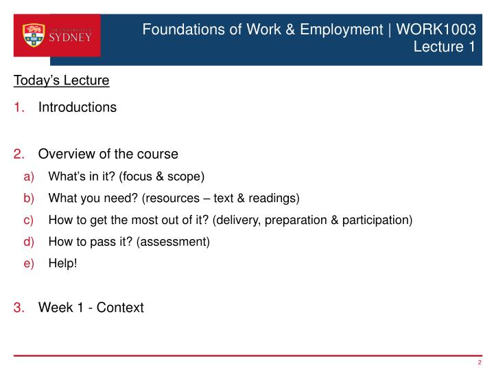 Foundations of work employment work1003 lecture 1