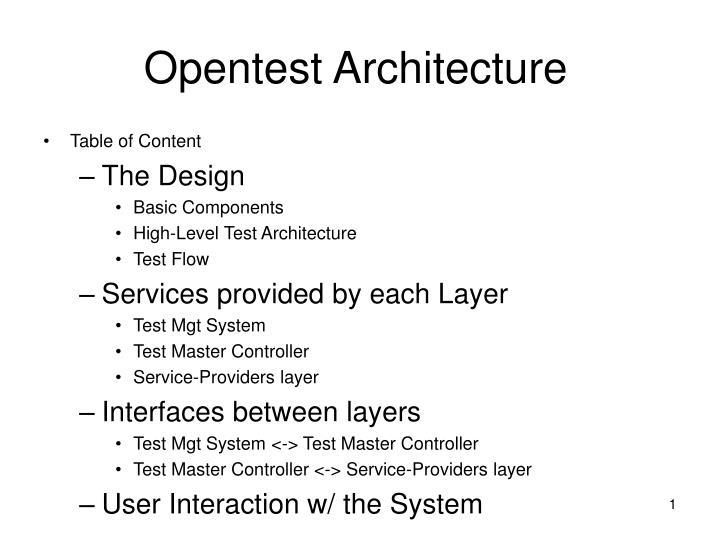 opentest architecture n.