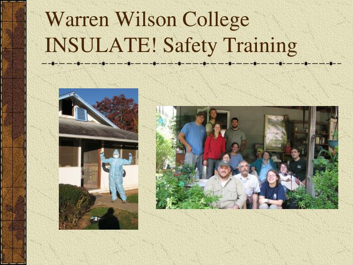 warren wilson college insulate safety training n.