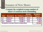issuance of new shares1