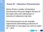 annex iii hazardous characteristics