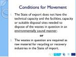 conditions for movement