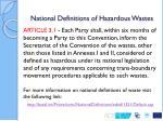 national definitions of hazardous wastes