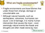 what are fragile environments