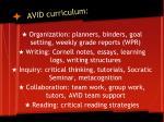 avid curriculum
