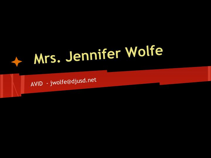 mrs jennifer wolfe n.