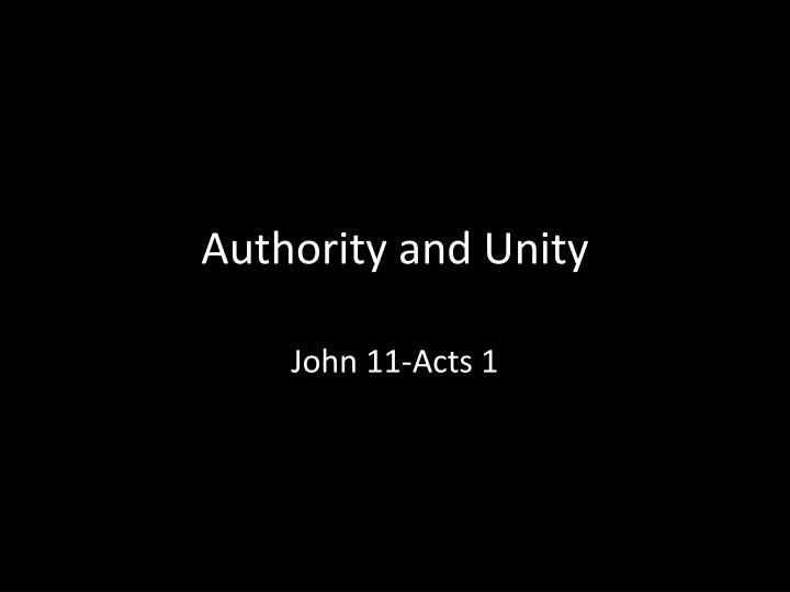 authority and unity n.