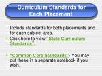 curriculum standards for each placement