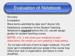 evaluation of notebook