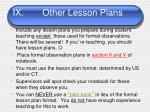 ix other lesson plans