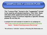sample daily lesson plan
