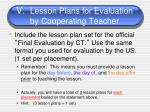v lesson plans for evaluation by cooperating teacher