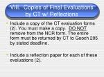 viii copies of final evaluations by ct w reflections