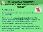vii nonbiased assessment considerations in standardized testing