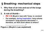breathing mechanical steps