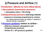 pressure and airflow 1