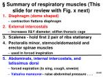 summary of respiratory muscles this slide for review with fig x next