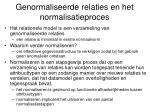 genormaliseerde relaties en het normalisatieproces