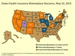 states health insurance marketplace decisions may 10 2013