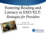 fostering reading and literacy in esd elt strategies for providers