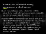 reaction to a california law banning discrimination in school materials