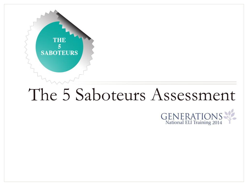 Ppt The 5 Saboteurs Assessment Powerpoint Presentation Id5627258