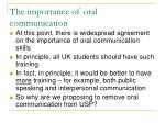 the importance of oral communication