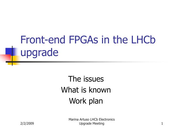 front end fpgas in the lhcb upgrade n.