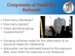 components of variability rationale