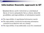 information theoretic approach to qt