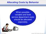 allocating costs by behavior
