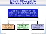 effect of allocations on operating departments