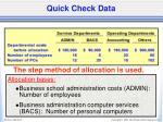 quick check data