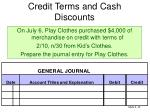 credit terms and cash discounts1