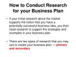 how to conduct research for your business plan