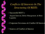 conflicts of interests in the structuring of reits