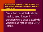 efficacy and safety of low cal diets a systematic review by bravata sanders huang et al
