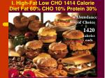 i high fat low cho 1414 calorie diet fat 60 cho 10 protein 30