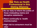 our role as health professional in this dieting dilemma