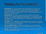 reading the pay statement