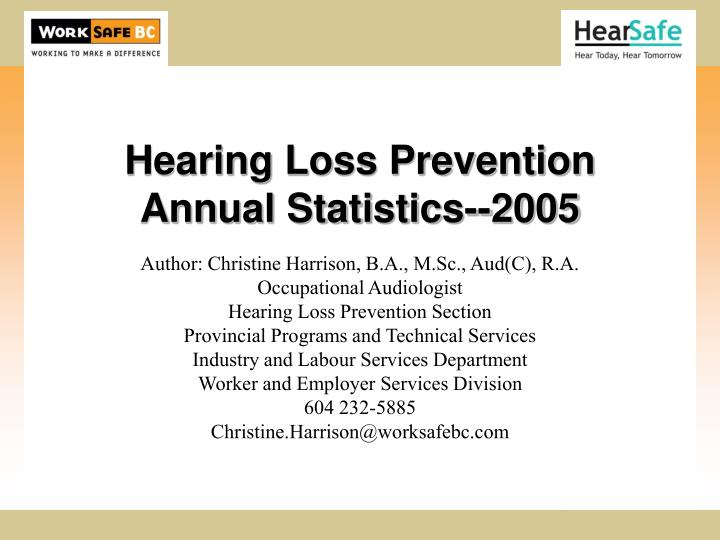 hearing loss prevention annual statistics 2005 n.