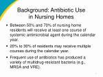 background antibiotic use in nursing homes