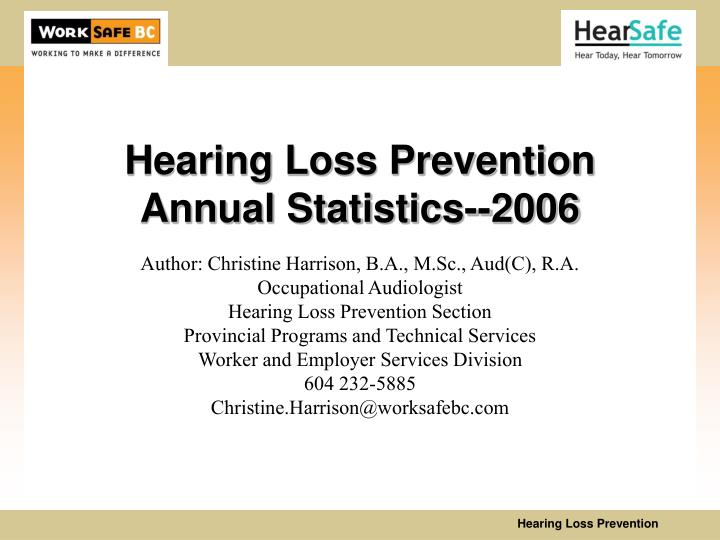 hearing loss prevention annual statistics 2006 n.