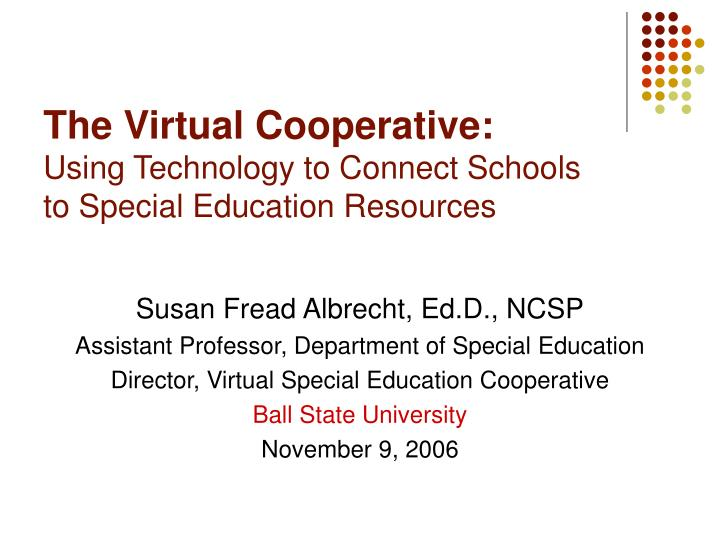 the virtual cooperative using technology to connect schools to special education resources n.