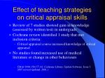 effect of teaching strategies on critical appraisal skills
